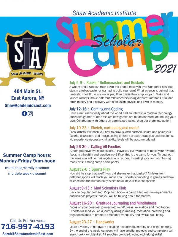 SHAW summer camp flyer 2021